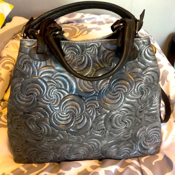 Beautiful Embossed Gray Leather Bag